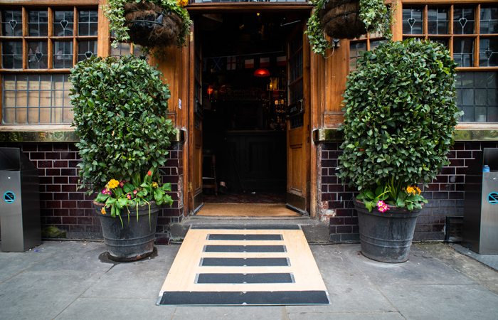 Churchill Arms pub wheelchair ramp access